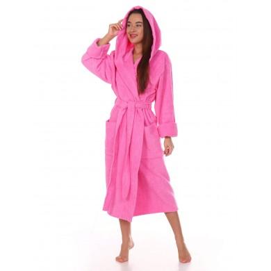 Халат женский розовый с капюшоном